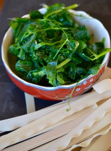 Snow pea shoots, also known as Dau Miu, from Jade Asian Greens