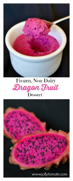Make this creamy, sweet, non-dairy Dragon Fruit Dessert with only two ingredients! #vegan #nondairy