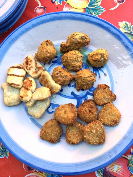 "Hip Chick Farms' Gluten-free selections include (clockwise from left): ""Naked"" chicken fingers, gluten-free chicken meatballs, and gluten-free chicken nuggets."