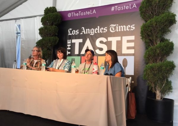 Left to right: Amy Scattergood of the L.A. Times, Nan Kohler of Grist and Toll, farmer Alex Weiser, baker Roxana Jullapat.
