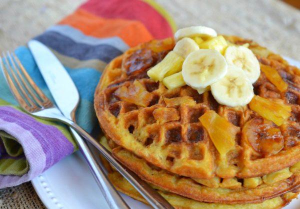 Pineapple-Banana Upside-Down Waffles