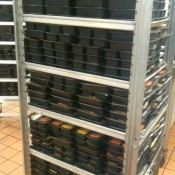 Meals stacked up and ready to go