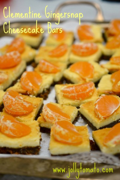 clementine gingersnap cheesecake bars