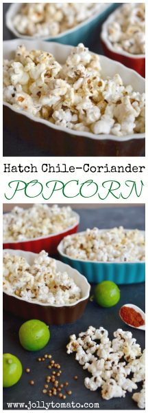 Hatch chile popcorn with coriander and lime.