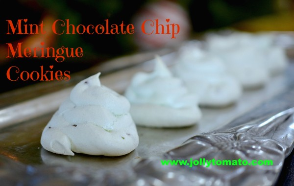 mint chocolate chip meringue cookies