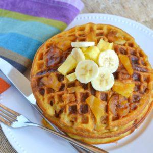 Pumpkin Banana Upside Down Waffles