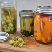 three pickle jars