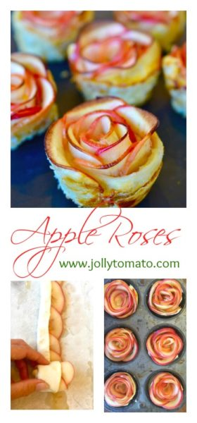 Apple Roses: A pretty dessert made from thinly sliced apples rolled up in puff pastry.