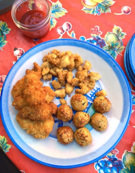 Lunch on the farm: Clockwise from left = Hip Chick Farms chicken fingers, popcorn chicken, and chicken meatballs.