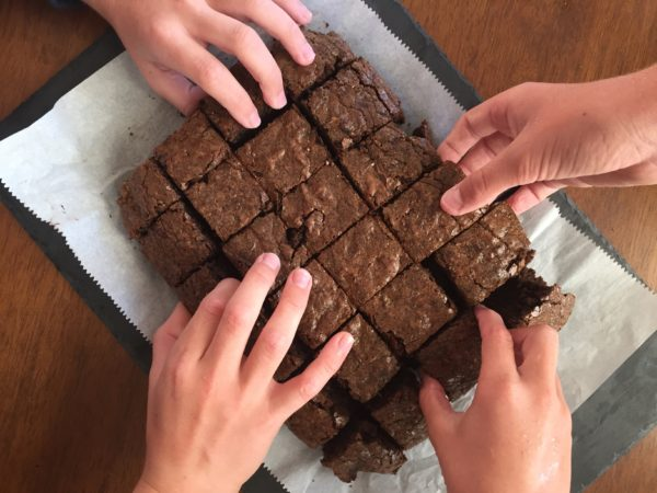 kale brownie hands
