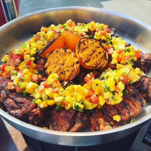 A platter of Jamaican jerk chicken at StubHub Center