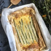 White asparagus and green asparagus tart