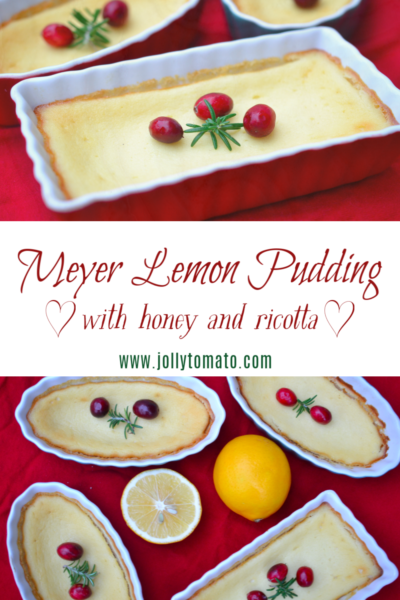 Meyer lemon pudding with honey and ricotta