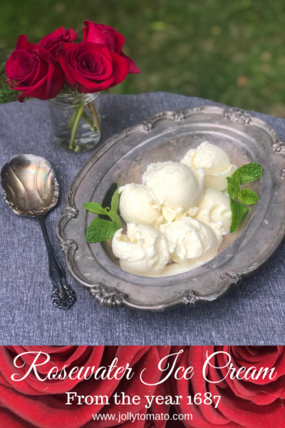 A rosewater ice cream recipe from the year 1687