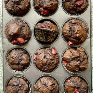 Chocolate Strawberry Sour Cream Muffins