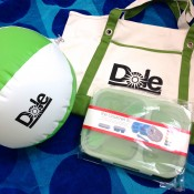 "Beach ball, beach bag, and ""collapsible trio"" lunch packer"