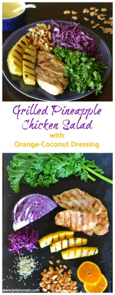 Grilled pineapple chicken salad with orange coconut dressing jolly were taking a deep dive this month into wholesome unprocessed dinners and for our second day of clean eating dinner recipes were going super colorful forumfinder Images
