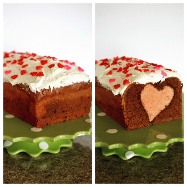 heart cake side by side