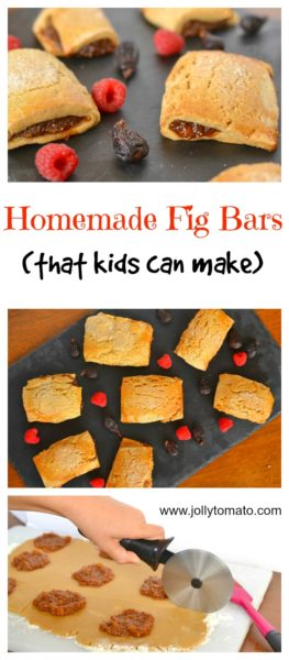 Delicious homemade raspberry fig bars that a kid can make.