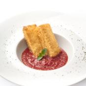 Fried Mozzzarella Sandwiches with San Marzano DOP tomatoes. Recipe at www.ilovesanmarzanodop.com