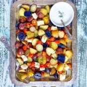 Roasted Red, White, and Blue Potato Salad