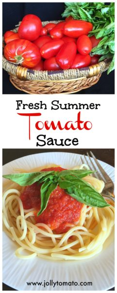 Homemade tomato sauce made from fresh summer tomatoes.