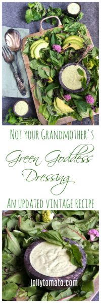 An updated recipe for Green Goddess dressing with olive oil, lemon juice, avocado, and fresh herbs.