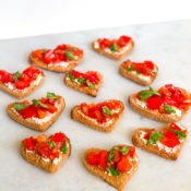 Valentine's Day Appetizer - Bruschetta Hearts