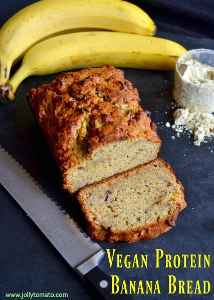 This vegan banana bread has a boost of clean veggie protein from Vega protein powder.