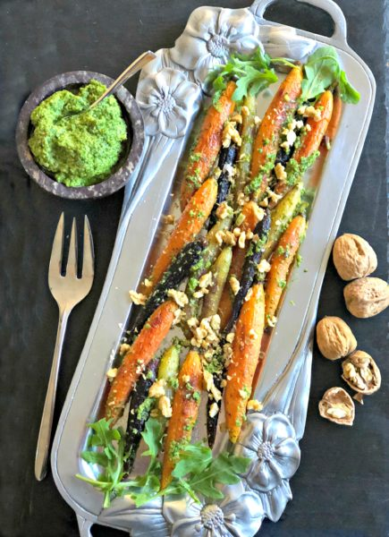 roasted carrots with vegan walnut-arugula pesto