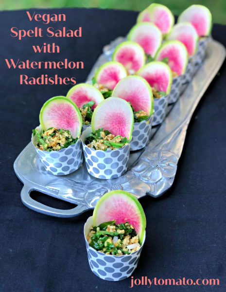 Vegan spelt salad with watermelon radishes