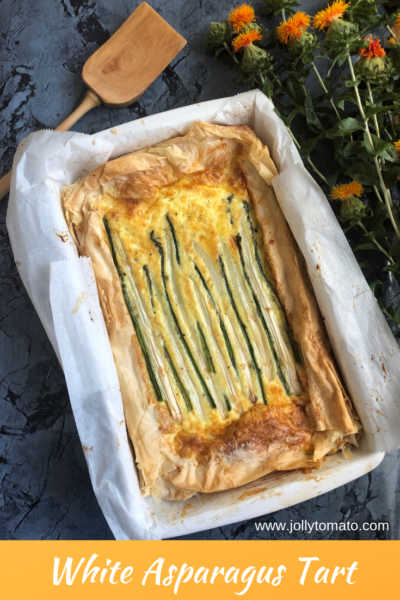 White asparagus plays a starring role in this rich golden-brown tart made with filo dough and both white and green asparagus.